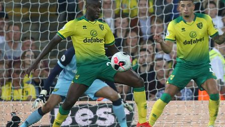 Norwich City's makeshift centre back Ibrahim Amadou was superb against Manchester City Picture: Paul
