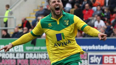 Gary Hooper, pictured celebrating a goal for Norwich City at Rotherham in April 2015 Picture: Paul C