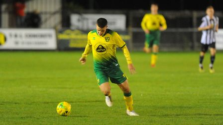 Aidan Fitzpatrick in action for Norwich City's development squad during the 4-3 defeat to Dereham To