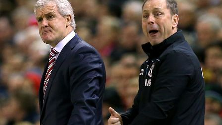 Mark Bowen, right, and Mark Hughes during their time in charge at Stoke Picture: Martin Rickett/PA W