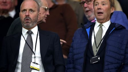Reading sporting director Mark Bowen, left, and club director Nigel Howe pictured at an EFL Cup tie