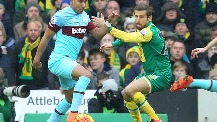 Gary O'Neil, marking Dimitri Payet of West Ham, made 55 appearances for Norwich City Picture: Paul C