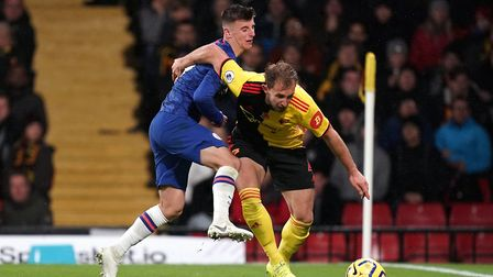 Watford defender Craig Dawson, right, is preparing his side for a battle at Carrow Road on Friday. P