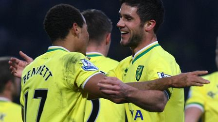 Andrew Surman, right, celebrates scoring against Bolton for Norwich in a Premier League game in Febr