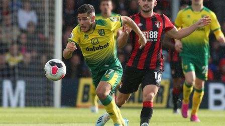 Emi Buendia played his part in Norwich City's spirited point at Bournemouth Picture: Paul Chesterton