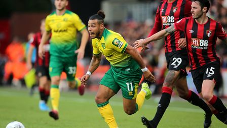 Norwich City's Onel Hernandez in action during the Premier League match at the Vitality Stadium, Bou
