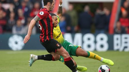 Onel Hernandez and Adam Smith compete for the ball in the 0-0 draw at Dean Court. Picture: Paul Ches