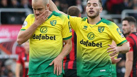 Norwich City hot shot Teemu Pukki was denied by Bournemouth keeper Aaron Ramsdale Picture: Paul Ches