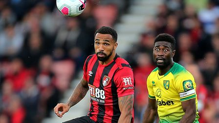 Norwich City midfielder Alex Tettey keeps a close eye on Bournemouth striker Callum Wilson at the Vi