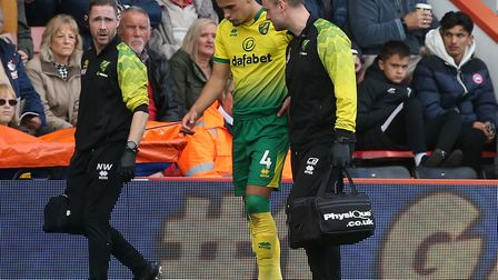 Norwich City defender Ben Godfrey limped off just five minutes into the second half at Bournemouth o