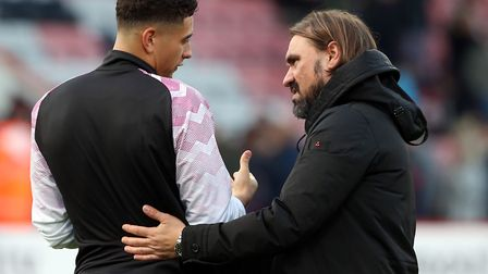 Canaries head coach Daniel Farke spoke to Ben Godfrey after full-time at Bournemouth, as his players