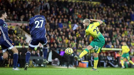 Teemu Pukki fires a shot in on goal. Picture: Paul Chesterton/Focus Images Ltd