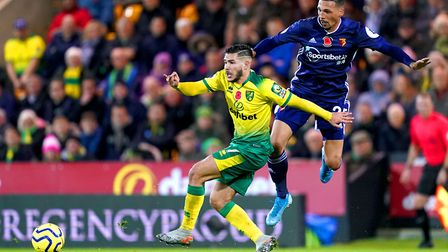 Watford's Jose Holebas battles with Emi Buendia battle for the ball on a night for forget for the Ar