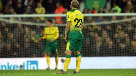 Teemu Pukki can't hide his disappointment as City fall behind early against Watford. Picture: Paul C