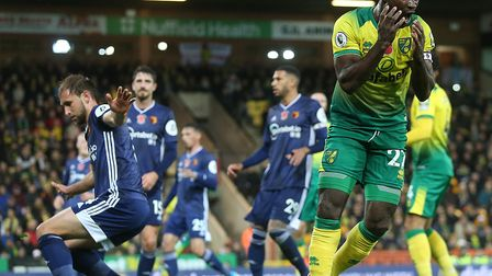 Alex Tettey slashes a first half chance wide in Norwich City's 2-0 Premier League defeat to Watford