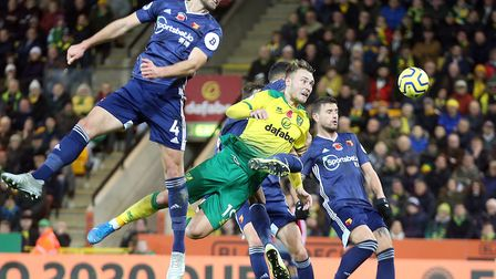 Tom Trybull tries to test the Watford backline in Norwich City's 2-0 Premier League defeat Picture: