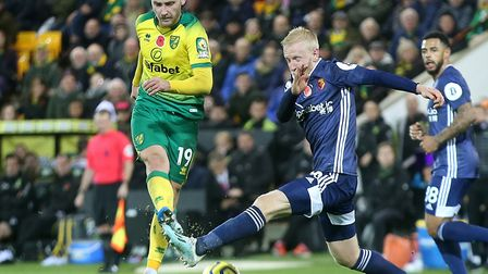 Tom Trybull played the full match as Norwich City were beaten 2-0 at Carrow Road by Watford Picture: