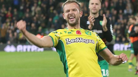 Jordan Rhodes of Norwich celebrates victory at the end of the Sky Bet Championship match at Carrow R