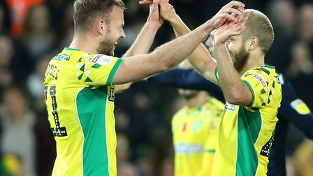 Jordan Rhodes of Norwich and Teemu Pukki of Norwich celebrate victory at the end of the Sky Bet Cham