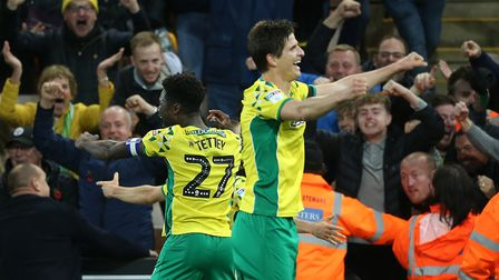 Alexander Tettey of Norwich and Timm Klose of Norwich celebrate their sideÕs 4th goal during the Sky