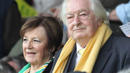 Norwich City's joint majority shareholders Delia Smith and her husband Michael Wynn Jones, pictured