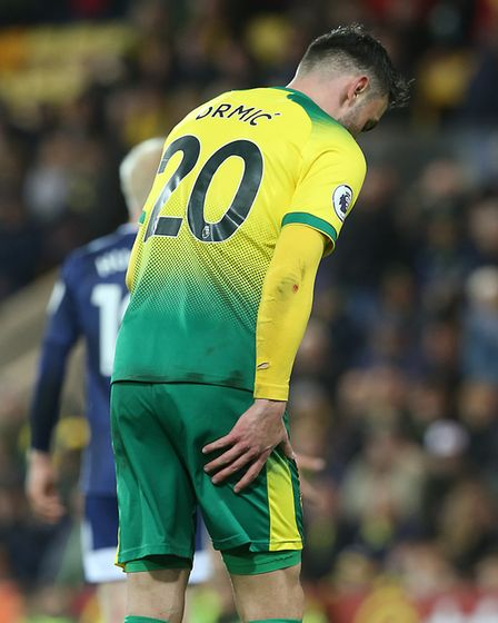 Josip Drmic limped through the closing stages of Norwich City's loss to Watford Picture: Paul Cheste