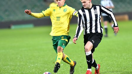 Alfie Payne in action for Norwich City U18s during a 4-3 win over Newcastle at Carrow Road in the FA