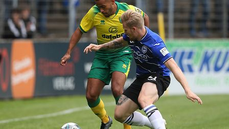 Louis Thompson in pre-season action for Norwich City ahead of his loan move to Shrewsbury Picture: P