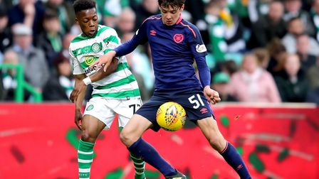 Aaron Hickey in Scottish Premiership action against Celtic earlier this season Picture: Jane Barlow/