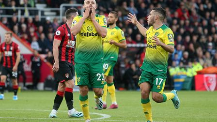 Teemu Pukki of Norwich and Emiliano Buendia of Norwich rue a missed chance during the Premier League
