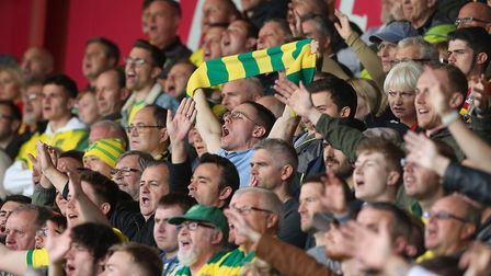 The traveling Norwich fans during the Premier League match at the Vitality Stadium, BournemouthPictu