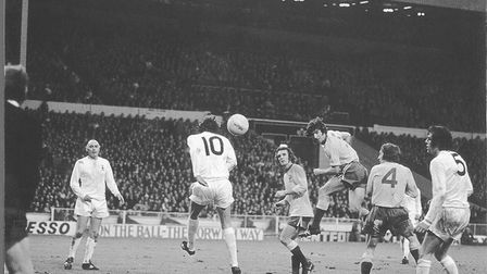 Duncan Forbes heading goalwards during the 1973 League Cup final against Spurs at Wembley Picture: A