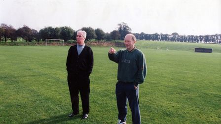 Norwich City legend Duncan Forbes with former team-mate and good friend Dave Stringer in October 199