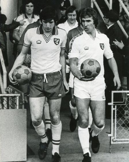 Duncan Forbes walking out alongside fellow City hero Martin Peters for his testimonial game in 1978