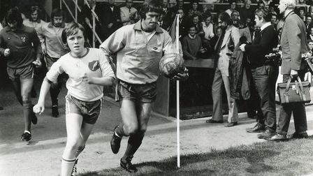 Here we go - Duncan Forbes running out at Carrow Road Picture: Archant Library