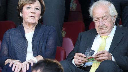 Norwich City's joint majority shareholders Delia Smith and Michael Wynn Jones at Burnley earlier thi