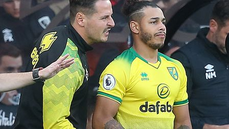Norwich City wide player Onel Hernandez sat out training for part of the week with a knee problem ah
