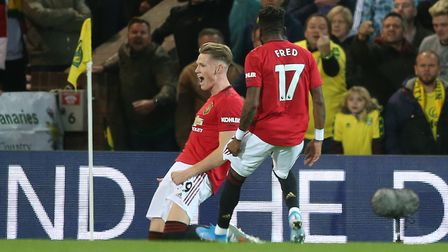 Scott McTominay celebrates after opening the scoring at Carrow Road Picture: Paul Chesterton/Focus I