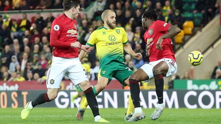 It was another goalless afternoon for Teemu Pukki against Manchester United. Picture: Paul Chesterto
