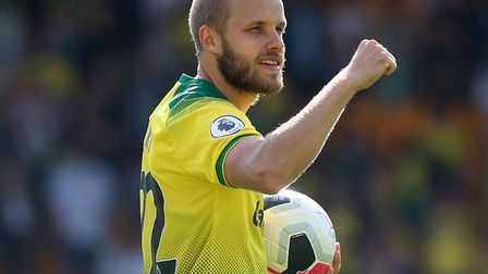Hat trick hero Teemu Pukki of Norwich with the match ball at the end of the Premier League match at