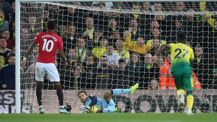 Tim Krul denies Marcus Rashford from the penalty spot in Norwich City's 3-1 defeat to Manchester Uni
