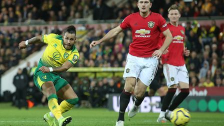 Onel Hernandez scored for Norwich in the 87th minute against Manchester United Picture: Paul Chester