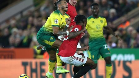 Aaron Wan-Bissaka's challenge on Onel Hernandez drew penalty calls, only for an offisde decision aga