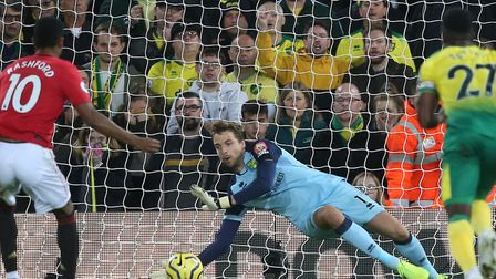 Tim Krul saved Marcus Rashford's penalty against Manchester United, and also denied Anthony Martial'