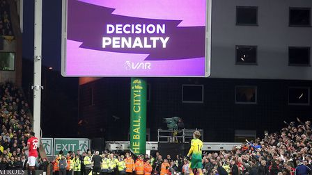 Video Assistant Referee David Coote awards a penalty to Man Utd during the Premier League match at C