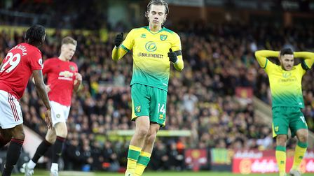Norwich City starlet Todd Cantwell miscued a big early chance against Manchester United Picture: Pau