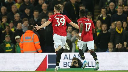 Scott McTominay savours the moment after scoring Manchester United's first at Carrow Road Picture: P