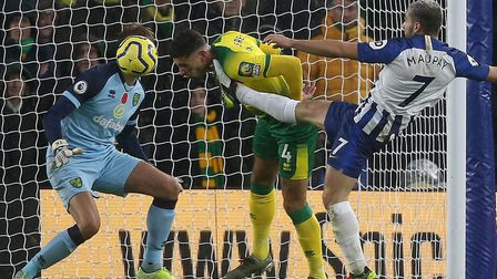 Ben Godfrey bravely clears his lines in Norwich City's 2-0 Premier League defeat at Brighton Picture