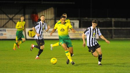 City midfielder William Hondermarck in action for the Canaries U18 side that face Dereham Town in a