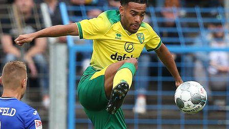 Louis Thompson in pre-season action for Norwich City ahead of his loan to Shrewsbury Picture: Paul C